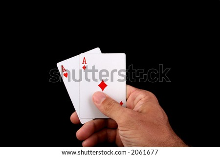 two aces texas hold'em poker hand - stock photo