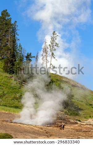 Two active geysers in Yellowstone National Park - stock photo