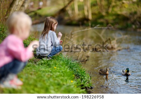 Two adorable sisters feeding ducks by a river at summer - stock photo