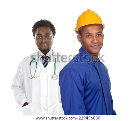 Two african worker men isolated on a white background - stock photo