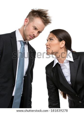 Two aggressive businesspeople debate and fight, isolated on white. Concept of competition and job competitive promotion - stock photo