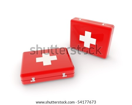 two aid kits isolated on white