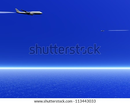 Two airplanes flying in the deep blue sky upon the ocean