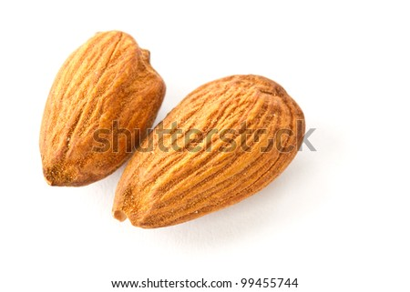 two almond on white view from above - stock photo