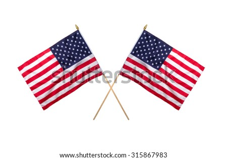 Two American flags crossing each other isolated on white background