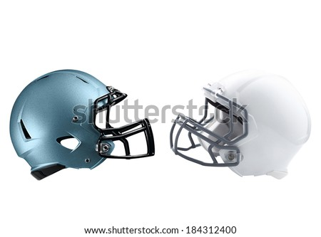 two American football helmets isolated - stock photo