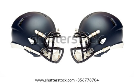 two american football helmets isolated on white background - stock photo