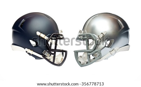 two american football helmets isolated on white background