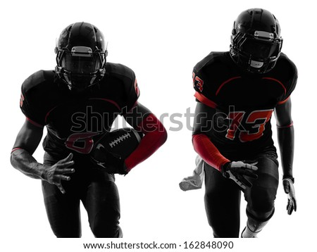 two american football players running in silhouette shadow on white background - stock photo
