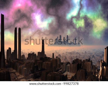 Two Ancient Alien Cities with Aurora Sky - stock photo