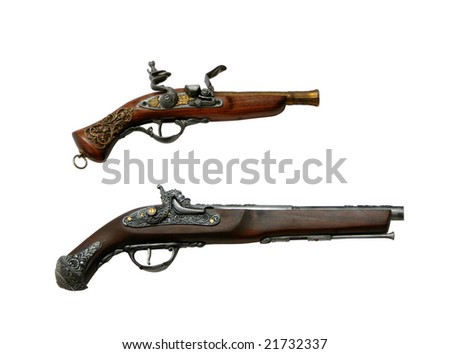 Two ancient pistols isolated on a white background