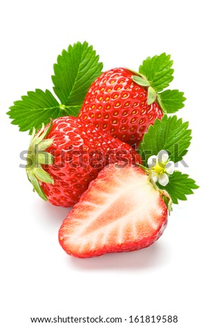 Two and a half large ripe strawberries. - stock photo