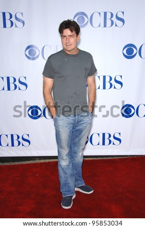 Two and a Half Men star CHARLIE SHEEN at the CBS Summer Press Tour Stars Party at the Rose Bowl in Pasadena, CA.  July 15, 2006  Pasadena, CA  2006 Paul Smith / Featureflash - stock photo