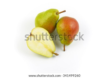 two and half ripe pears on white background - stock photo