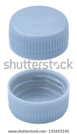 Two angles of a silver plastic bottle cap. Isolated on white background. - stock photo