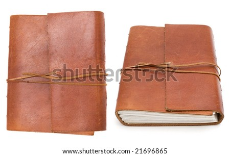 two angles of  brown leather bound book - stock photo