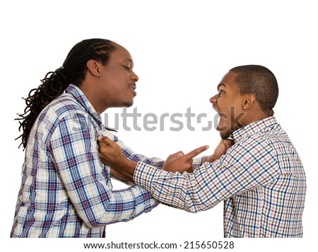 Two angry men screaming at each other, pointing fingers, blaming for mistakes, isolated white background. Negative human emotions, facial expression, feeling body language, bad attitude, confrontation - stock photo