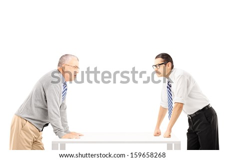 Two angry people during a quarrel isolated on white background - stock photo