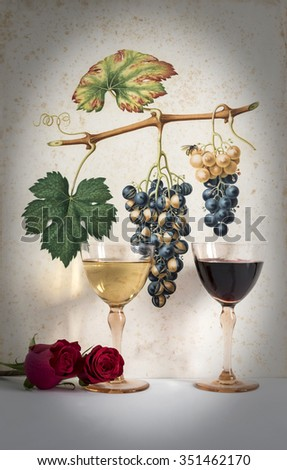 two antique glasses of red and white wine background grape cluster decorated, romantic moment with red  rose,photo with vignetting, natural light, vertical photo - stock photo