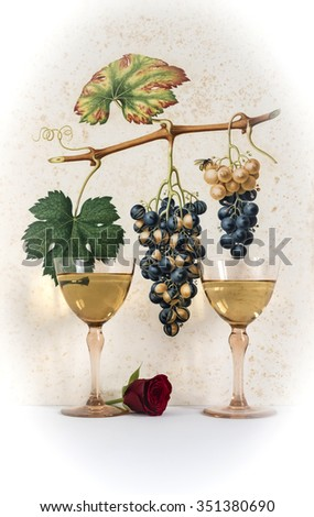 two antique glasses of white wine background grape cluster decorated, romantic moment with flowers rose,photo with vignetting, natural light, vertical photo - stock photo
