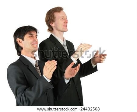 Two applauding businessmen