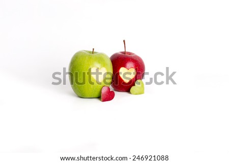two apple with heart theme - stock photo