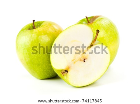 two apples and half of apple Isolated on a white background - stock photo
