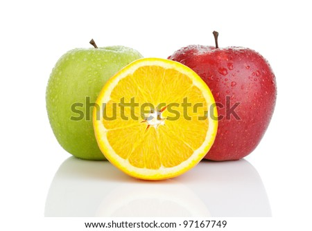 Two apples and oranges on a white background. Isolated. - stock photo