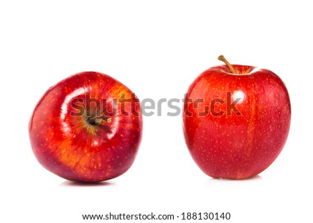 two apples fruits isolated on white background
