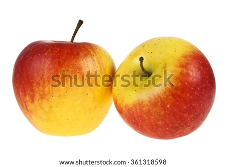 Two apples isolated on white background - stock photo