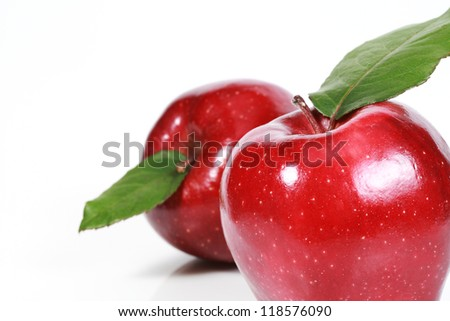 two apples isolated white background - stock photo