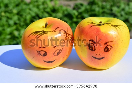 two apples, smile