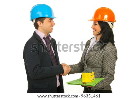Two architects making a deal and shaking their hands isolated on white background