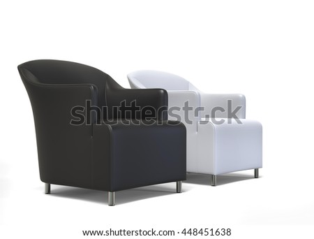 Two armchairs - black an white leather - 3D Render - side view - on white background