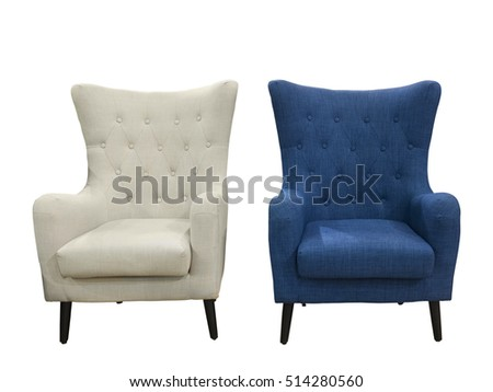 Two armchairs, blue and white, isolated on white background.