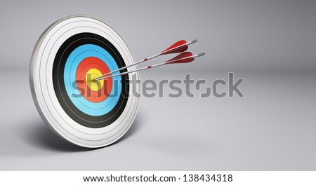 Two arrows hitting the center of a target, grey background. 3D render illustration - stock photo