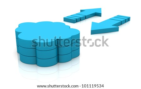 two arrows in different direction and a stack of clouds. concept of  working with online data, known as cloud computing (3d render) - stock photo
