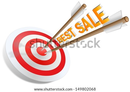 Two arrows jabbed in the dartboard with Best sale writing - stock photo