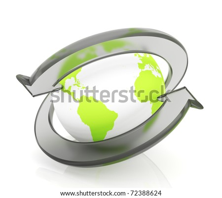 Two arrows surrounding Earth globe - 3d render