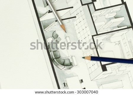 Two artistic drawing pencils set on actual real estate floor plan architectural isometric drawing stating for simplicity in interior design process and real estate business branch - stock photo