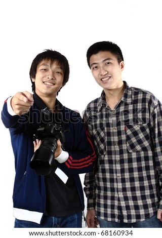 two asia man with camera - stock photo