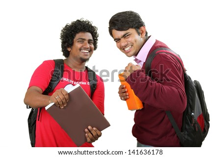Two Asian school  boys enjoying their free time  and isolated on white background. - stock photo