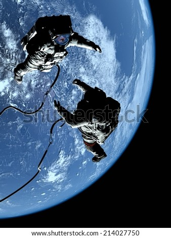 "Two astronauts in space on the backdrop of the planet..""Elemen ts of this image furnished by NASA"" - stock photo"