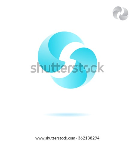 Two attracted water drops, water  circulation concept, 3d raster - stock photo