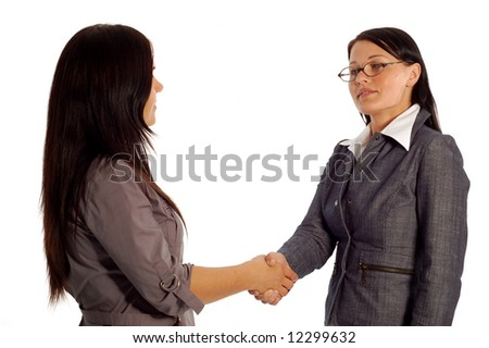 two attractive businesswomen on white background - stock photo