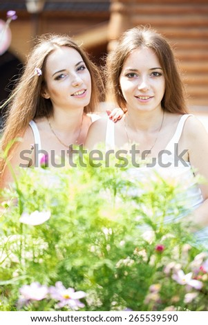 Two attractive twin sisters in a park in summer - stock photo
