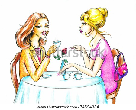 Two attractive women drinking coffee.Picture I have created myself with colored pencils. - stock photo