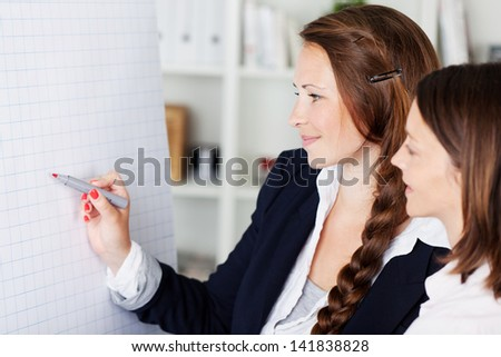 Two attractive young businesswomen standing discussing a flip chart pointing to it with a marker pen - stock photo