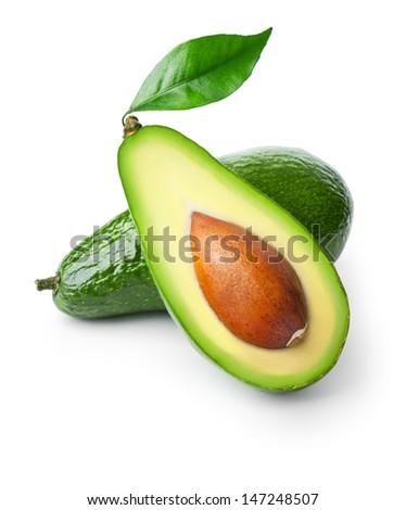 Two avocados isolated on white background