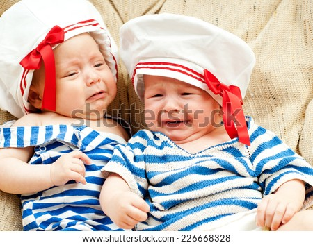 two baby cry - stock photo